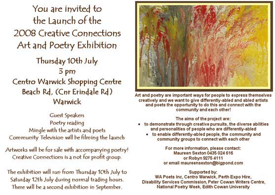 Invitation to launch of Creative Connections 2008